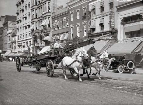 Washington, D.C., circa 1914. Three-horse team pulling water tower.